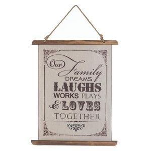 NEW FAMILY LAUGHS LINEN WALL ART